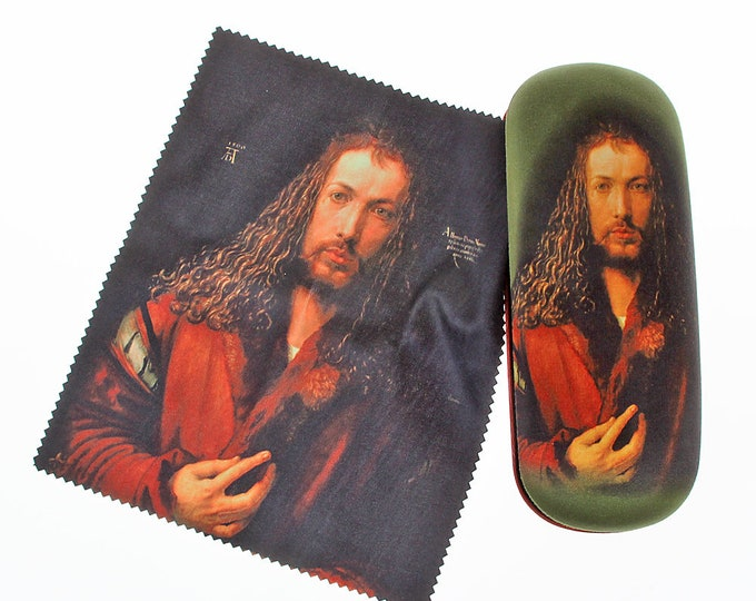 "Eyeglass case Set Albrecht Dürer ""Self-portrait 1"" covered with velour (micro fiber)"