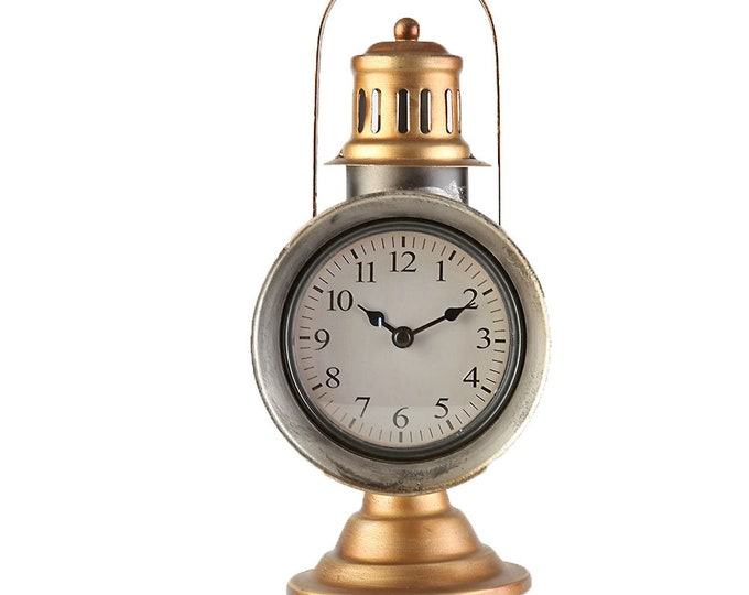 Table clock stand clock storm lamp gold size approx. 13x17.5 x 29 cm