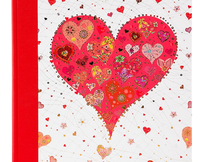 Photo album Goldbook Heart red self-adhesive 60 pages for 224 photos in the size 10 x 15 cm or 112 photos in 13 x 18 cm album size approx. 29 x 31 cm