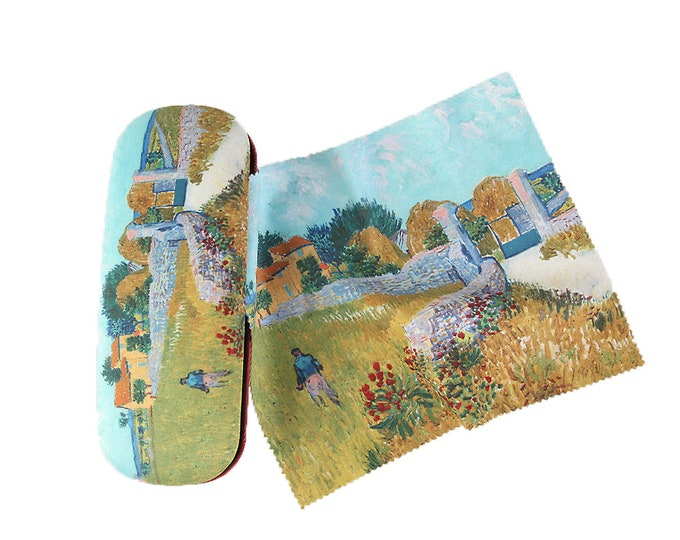 "Eyeglass case set Vincent Van Gogh ""Farmhouse in Provence"" covered with velour"