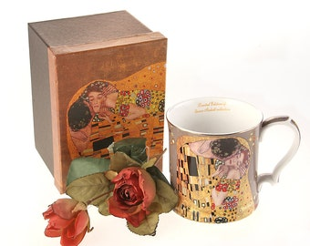 "Cup Porcelain Gustav Klimt ""The Kiss Grey"" Queen Isabell incl. gift box"