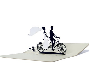 3D Pop Up folding card with envelope wedding tandem also to use as a coupon or for a money gift