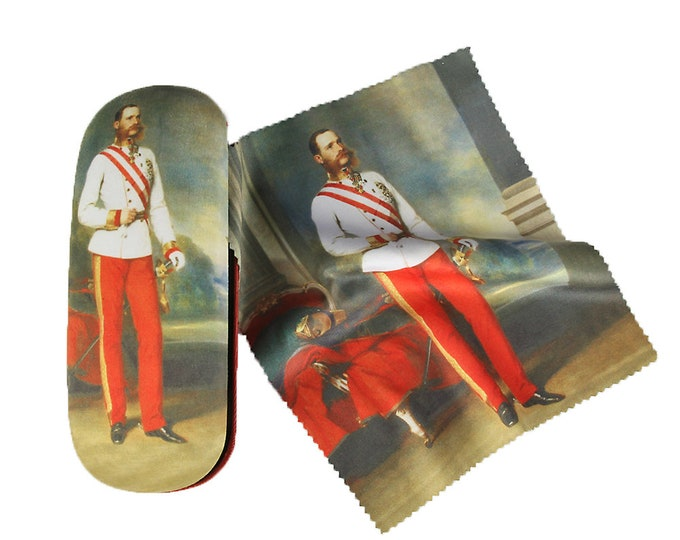 "Glasses case set ""Emperor Franz Josef Jung"" covered with velour"