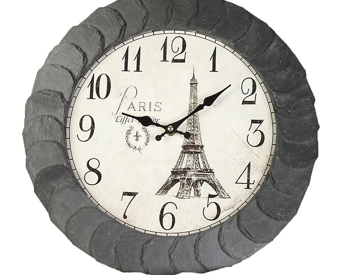 "Wall Clock Original Slate Handmade ""Paris"" Size approx. 37 cm . . . . . . . . . . . . . . . . . . . . . . ."