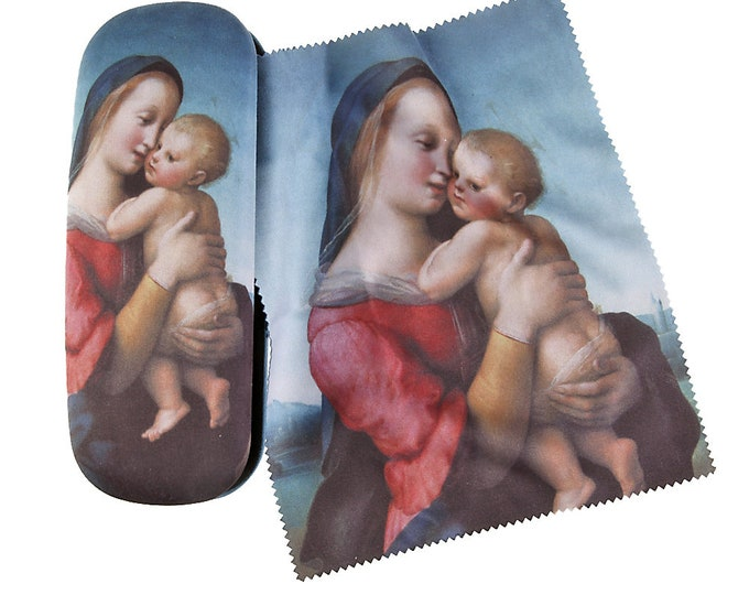 "Eyeglass case set Raffael ""Madonna Tempi"" covered with velour (micro fiber)"