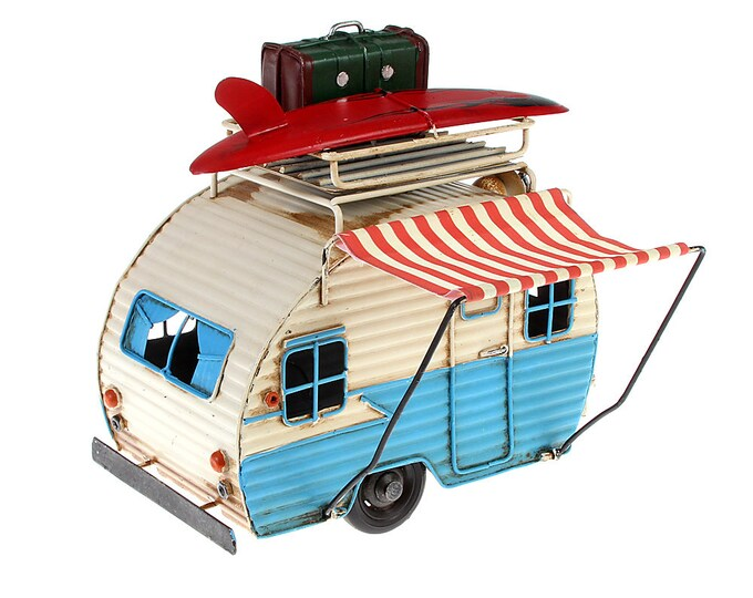 Sheet metal model picture frame and money box camping trailer cream/light blue