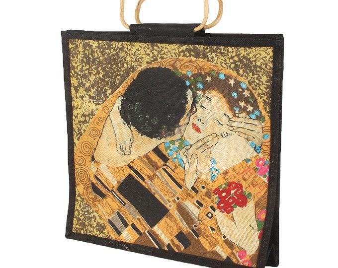 "Handbag shoulder bag tote bag art bag jute bag Gustav Klimt ""The kiss"" hand sewn & hand printed"
