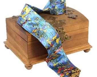 "Silk Tie Artist Tie Claude Monet ""Sea Roses"" 100% Pure Silk Hand Printed"
