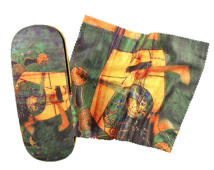 "Eyeglass case set Gustav Klimt ""music"" covered with velour"