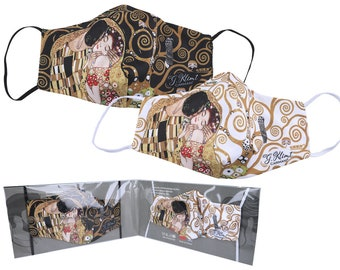 "Mouth Nose Protection Mask 2-Layer Reusable 2-Pack Gustav Klimt ""The Kiss/Tree of Life"""