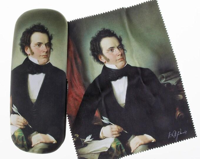 "Eyeglass case set ""Franz Schubert"" covered with velour (micro fiber)"