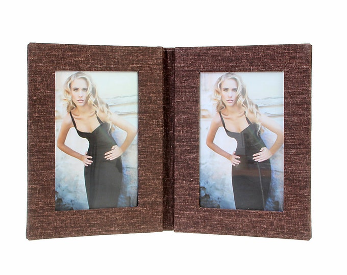 Double picture frame folder canvas for 2 pictures in approx. 13 x 18 cm linen cover. No glass size approx. 22 x 35 cm for setting up (brown)