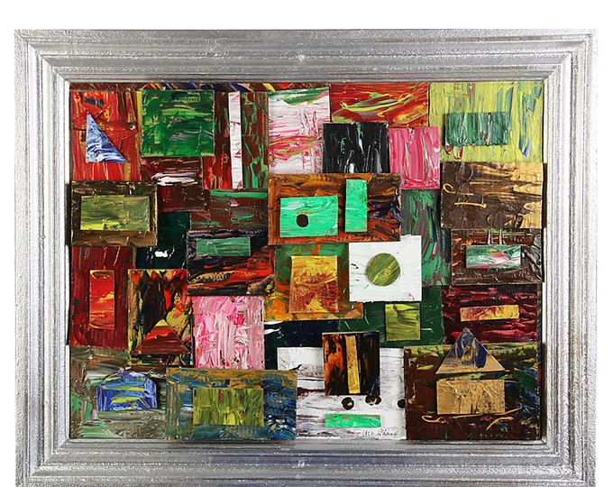 """Painting collage """"Tokyo"""" with frame size approx. 75 x 90 cm"""