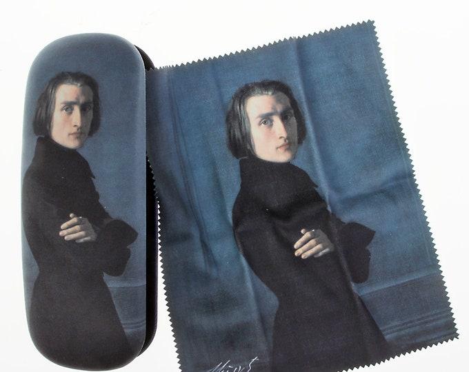 "Eyeglass case set ""Franz Liszt"" covered with velour (micro fiber)"