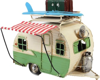 Tin model picture frame and money box camping trailer cream/light green size approx. 23x19x13.5 cm