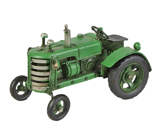 Sheet metal model Small tractor LBH about 15 cm x 9 cm x 8 cm (green)