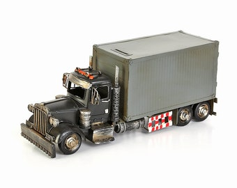 Sheet metal model and money box truck size approx. 35.5x12.5 x 15.5 cm