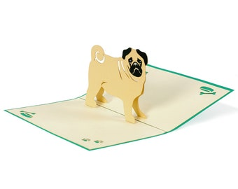 3D Pop Up folding card with envelope pug also to use as a coupon or for a money gift