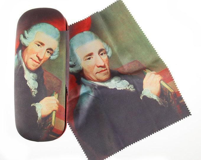"Eyeglass case set ""Joseph Haydn"" covered with velour (micro fiber)"