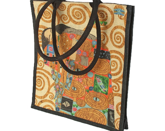 """Handbag shoulder bag shopping bag art bag jute bag Gustav Klimt """"fulfillment"""" hand-stitched & hand printed"""