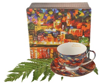 "Cup Porcelain Vincent Van Gogh ""Starry Night over Amsterdam"" Queen Isabell incl. saucer & gift box"
