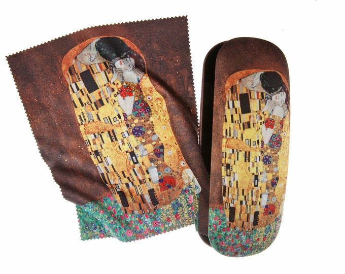 "Eyeglass case set Gustav Klimt ""The kiss"" covered with velour (micro fiber)"