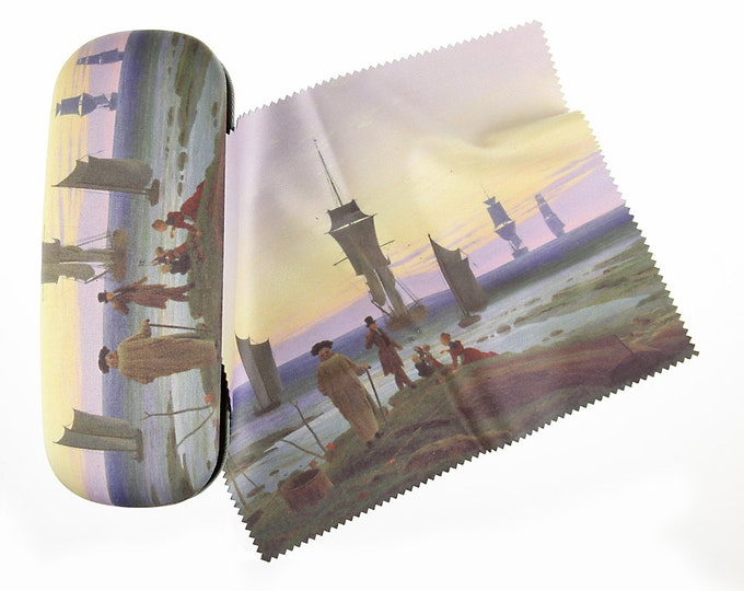 "Eyeglass case Set Caspar David Friedrich ""The stages of life"" covered with velour (micro fiber)"