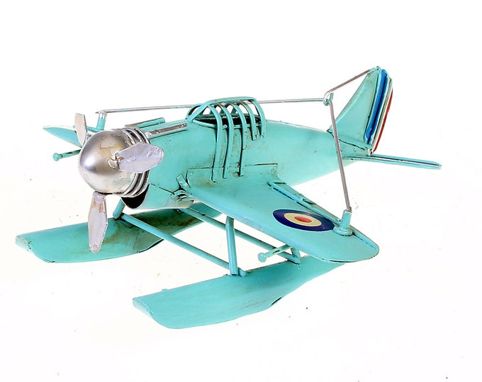 "Tin model ""seaplane"" Blue Nostalgia Model Size approx. 16x15x7.5 cm"