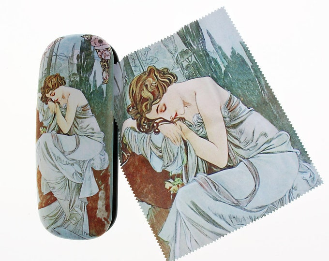 "Eyeglass case Set Alphonse Mucha ""The Night - La Nuit"" covered with velour (micro fiber)"