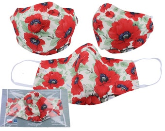 "Mouth Nose Protection Mask 2-Layer Reusable ""Poppy Flowers"""