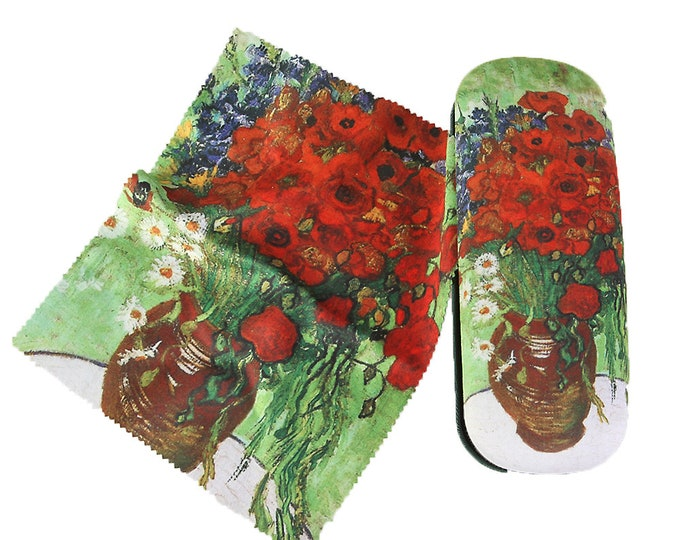 "Eyeglass case set Vincent Van Gogh ""poppy and daisies"" covered with velour"