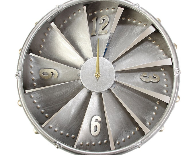 Wall clock airplane tubine silver size approx. 40.5x9.5 x 41 cm