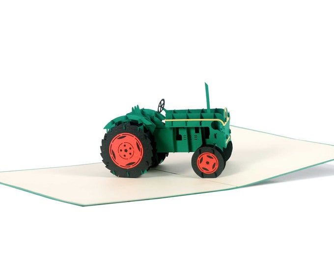 3D Pop Up folding card with envelope tractor also to use as a coupon or for a money gift