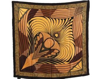 """Neckerchief Gustav Klimt """"The Peacock Gold/Brown"""" 100% silk size about 100 cm x 100 cm"""