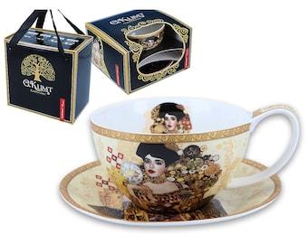 "CARMANI cup with saucer porcelain Gustav Klimt ""Adele"" incl. decorative gift box"
