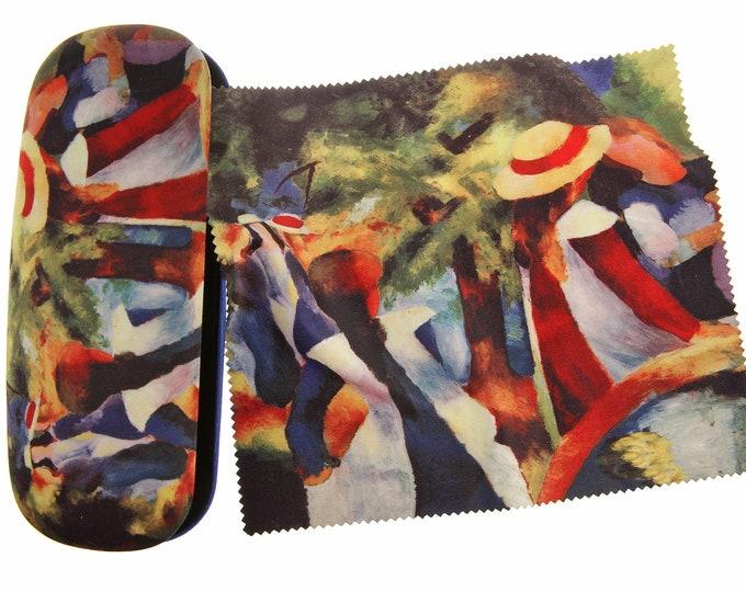 "Eyeglass case set August Macke ""Girls under trees"" covered with velour (micro fiber)"