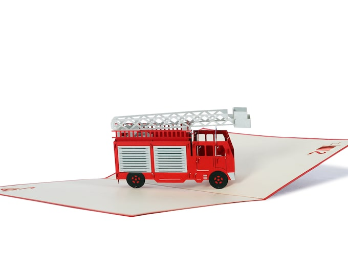 3D Pop Up folding card with envelope fire brigade also to use as a voucher or for a money gift