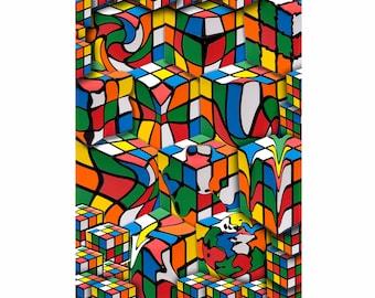 Art print Giclee Rubic Cube approx. 30.0 x 42.0 cm