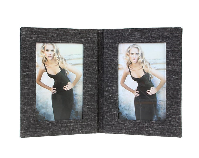 Picture frame folder Canvas for 2 images in approx. 10 x 15 cm linen cover. No glass size approx. 15 x 30 cm (black)