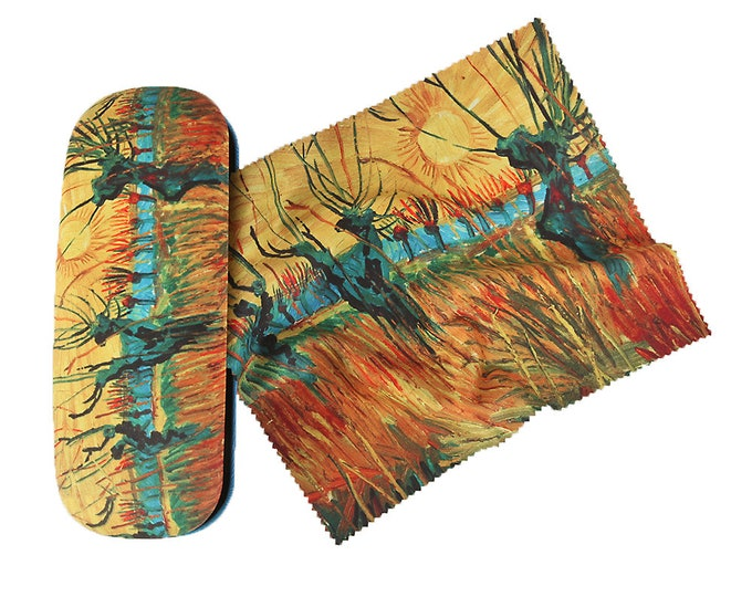 "Eyeglass case set Vincent Van Gogh ""Weiden"" covered with velour"