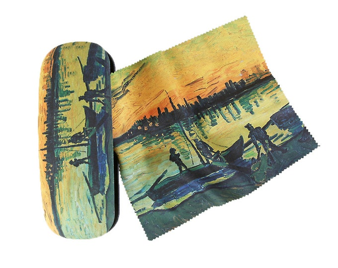 "Glasses case set Vincent Van Gogh ""port workers"" covered with velour"