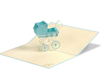 3D Pop Up Folding Card with Envelope Stroller Boy Also to Use as a Voucher or for a Money Gift