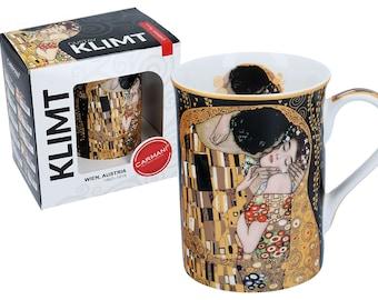 "CARMANI elegant mug cup porcelain Gustav Klimt ""The Kiss Black"" incl. decorative gift box"