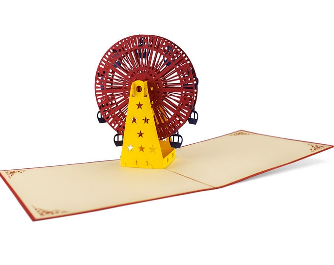 3D Pop Up folding card with envelope Ferris wheel also to use as a voucher or for a money gift