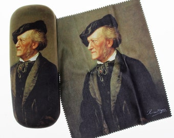 "Eyeglass case ""Richard Wagner"" covered with velour (micro fiber)"