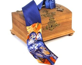 "Silk tie artist tie Franz Marc ""Tower of Blue Horses"" 100% pure silk hand printed"