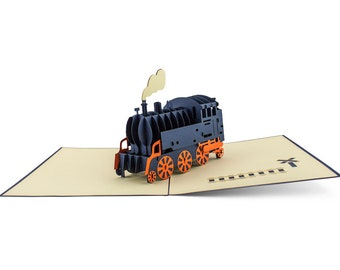 3D Pop Up folding card with envelope locomotive also to be used as a voucher or for a monetary gift