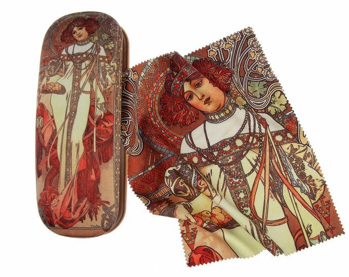 "Eyeglass case Set Alphonse Mucha""Autumn"" covered with velour (micro fiber)"
