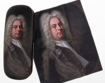"Glasses case ""Georg Friedrich Handel"" covered with velour (micro fiber)"