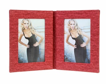 Double picture frame folder canvas for 2 pictures in approx. 13 x 18 cm linen cover. No glass size approx. 22 x 35 cm for setting up (red)